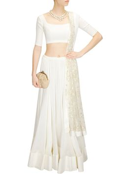 White lehenga set with sequins embroidered dupatta available only at Pernia's Pop-Up Shop. The Effective Pictures We Offer You About Bridal Outfit honeymoons A quality picture Dress Indian Style, Indian Dresses, Indian Outfits, Indian Clothes, Salwar Kameez, Simple Dresses, Beautiful Dresses, Lengha Blouse Designs, Bridal Lehenga Choli