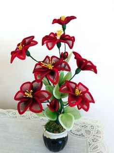 Handmade Nylon Flower Arrangements by LiYunFlora on Etsy