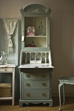 A beautiful vintage bureau finished in Old White & Duck Egg Blue Chalk Paint® decorative paint by Annie Sloan | By Touch the Wood