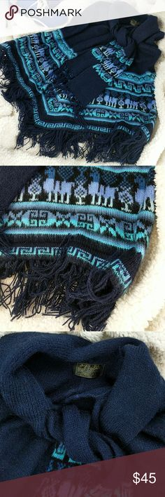 Baby alpaca fringe poncho made in Peru  M Excellent condition!  Dark blue with lavender and baby blue Peruvian pattern.  Has a scarf attached.  Sleeveless. G.I.R.L. Proan Accessories Scarves & Wraps