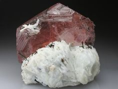 A sensational Beryl var. Morganite from Brazil, featuring a huge crystal 4.3cm thick x 10 cm wide. Crystal Classics Minerals