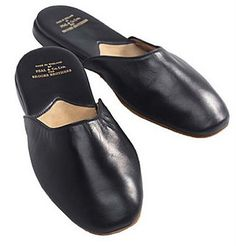 Men 39 S Leather Slipper In Smooth Black Aspinal Of London Possible Leather Slipper To Remake