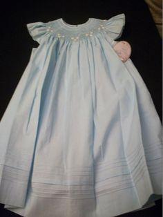 SMOCKED BLUE BISHOP & WHITE SLIP SET BEAUTIFUL HEIRLOOM WILL BETH BOUTIQUE ITEM #WILLBETH #DressyHolidayPageantWedding