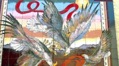 "Carolyn Payne Murals-custom hand painted tile  mural for outdoor patio/""Courtship Flight"" eagles (6' x 8')"
