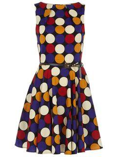 Multi polka-dot flared dress