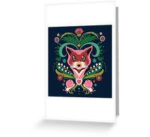 달팽이 인사말 카드와 핑크 여우의 초상화