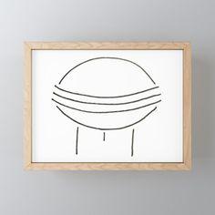 Line art - ufo Framed Mini Art Print by bublinko Rustic Feel, Great Friends, Ufo, Line Art, Decor Styles, Keep It Cleaner, Great Gifts, Gallery Wall, Art Prints