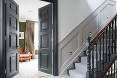 This London location house is a newly refurbished victorian semi-detached house built in available for photo shoots, tv and filming location Victorian Hallway, Victorian Townhouse, Victorian Homes, Painted Staircases, Painted Stairs, Edwardian Haus, Stair Paneling, Panelling, Hallway Colours