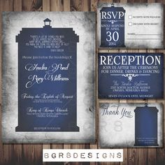 Doctor Who TARDIS Wedding Invitation Set - PRINTABLE DIY (The perfect invite for Dr Who fans) Matching save the dates available digital file