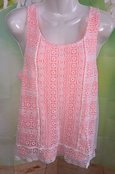 American Eagle Outfitters Tank Top Womens L Neon Underlay Embroidered Overlay   | eBay