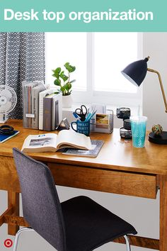 Keep your desk organized and clutter-free with a variety of cool storage options. A coffee mug with a fun quote adds personality and is a great place to hold pencils, pens and highlighters. Add a desk lamp for late-night study sessions and other desktop organization to keep notes, paper clips and other stuff in its place.