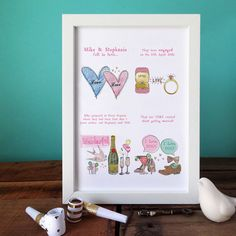 Personalised Engagement Story Print  'Absolutely love the engagement print - great quality and excellent value for money!'  Tue 31 Jan 2017