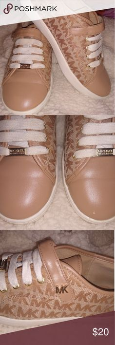 MK Shoes They were worn and only have a stuff mark on the left foot. Other than that they are in good shape. They were kept clean. Michael Kors Shoes, Keep It Cleaner, Shoes Sneakers, Kids Shop, Shape, Closet, Shopping, Things To Sell, Fashion