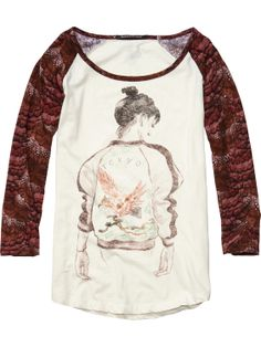 Cotton Linen Raglan Sleeve Tee With Street Style Artwork > Womens Clothing > Tops & T-shirts at Maison Scotch