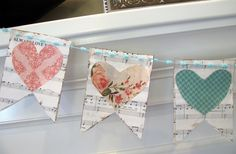 love song bunting made from sheet music