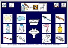 MATERIALES - Tableros de Comunicación de 12 casillas.    Tablero de comunicación de doce casillas sobre objetos para el aseo.    http://arasaac.org/materiales.php?id_material=224