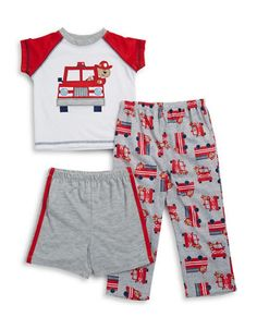 Cool firetrucks in a cute and lightweight three-piece set. Polyester. Machine wash. Imported.