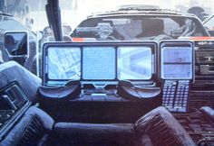 "Syd Meade  - ""Blade Runner"" police spinner vehicle interior artwork"