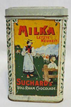 Rare-1900-German-Tin-Can-Litho-Suchard-Swiss-Cacao-Chocolate-Tin-Box-French