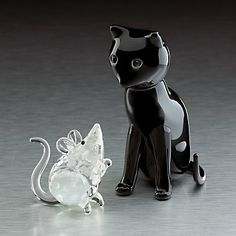 Cat and Mouse Glass Figurines