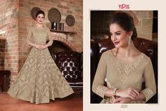 Unique Anarkali gowns showcases in a range of gold beige colours and styles with intricate embroidery and detail upon the soft toned net fabric.Available in various sizes and customisations, please contact us for your required size. Wedding Lehnga, Asian Wedding Dress, Blue Wedding Dresses, Party Wear Dresses, Wedding Wear, Bridal Dresses, Bollywood Wedding, Diwali Dresses, Pakistani Dresses