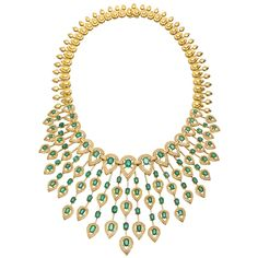 GABRIELLE'S AMAZING FANTASY CLOSET | Superb Emerald Diamond Fringe Necklace |