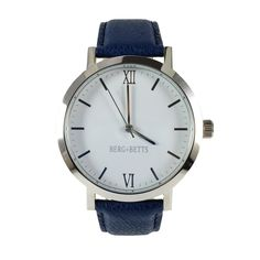 The modern round silver timepiece in silver with sustainable navy blue leather strap, meticulously crafted with high-quality leather that would otherwise go to waste. Leather Scraps, Great Women, Stainless Steel Case, Quartz, Band, The Originals, Silver, Accessories, Woman