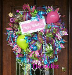 Your place to buy and sell all things handmade Wreath Crafts, Diy Wreath, Diy Crafts, Wreath Ideas, Diy Valentines Day Wreath, Birthday Decorations, Birthday Wreaths, Teacher Wreaths, Office Birthday