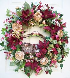 Spring wreath in Burgundy. http://www.timelessfloralcreations.com/