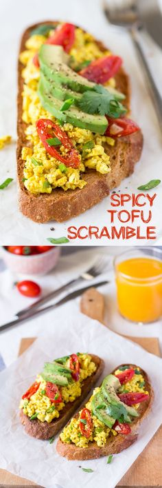 Spicy tofu scramble I LOVE THIS. GREAT FOR MEAT EATERS, NON MEAT EATERS, FABULOUS ALTERNATIVE TO EGGS FOR VEGANS. INCREDIBLY HEALTHY AND VERSATILE. YOU CAN PUT ANYTHING YOU WANT IN YOUR SCRAMBLE. MIX IT UP AND ENJOY THE HEALTHY BENEFIT OF EATING TOFU! KIM'S RATING- 10