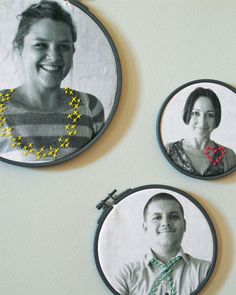 Family photos in embroidery hoops with simple stitch details. Love it!