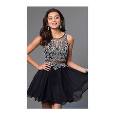 Short Sleeveless Mock Two-Piece Dress (260 AUD) ❤ liked on Polyvore featuring dresses, 2 piece dress, homecoming dresses, mock two piece dress, sleeveless homecoming dresses and jeweled homecoming dress