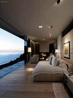 seaside home architecture - master bedroom view
