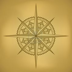 Look: Vintage Travel/Poster    Traditional old-styled wind rose on ancient russet paper. Stock Photo