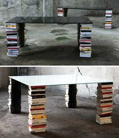 Invisible Bookshelf legs  Those of us who grew up with a book semi-permanently attached to our hands have heard the above proclamation millions of times. But the ex-libris table design defies parental orders and encourages reading at the table. The bookshelf legs provide ample storage for any and every book you could possibly need while dining; cookbooks would be an especially wonderful (if slightly obvious) choice for this setting.