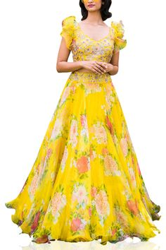 Yellow floral lehenga set designed by Mrunalini Rao at AASHNI+CO. Long Dress Design, Girls Frock Design, Kids Frocks Design, Indian Fashion Dresses, Frock Fashion, Indian Gowns Dresses, Designer Anarkali Dresses, Designer Party Wear Dresses, Kurti Designs Party Wear