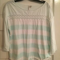 Reduced! Super cute aqua and white striped top!! Great condition! Lauren Conrad Tops Blouses