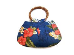 Tropical Hibiscus Tiki Print Purse Bag Rockabilly Bamboo Handles by RETROMETROROCKABILLY