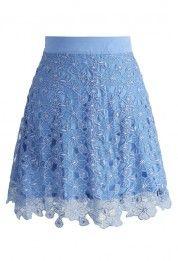 Organza Floret A-line Skirt in Cerulean