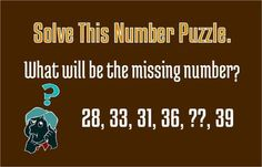 What will be the missing number? (28, 33, 31, 36, ?, 39)