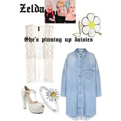 Um....summery pinup vibes by zelda-kahtan on Polyvore featuring polyvore, fashion, style, H&M, Betsey Johnson and Daisy Jewellery