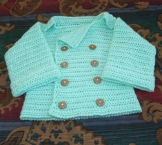 Infant's double breasted cardigan crochet pattern by Cobbler's Cabin - download FREE at LoveKnitting!