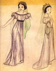 Some early designs for Snow White. Love the drawing on the right.