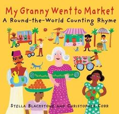 My Granny Went To Market by Stella Blackstone is an amazing book. It's a counting book, a trip around the world and a view into different cultures as well. Granny buys a magic carpet and goes from place to place, buying souvenirs that number from Counting Rhymes, Counting Books, Teaching Spanish, Teaching Kids, Spanish Lessons, Spanish Class, Student Teaching, Teaching English, Art Lessons