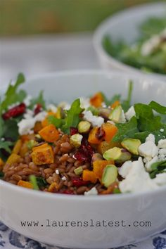Winter Power Salad with roasted butternut squash, wheat berries and maple tarragon dressing
