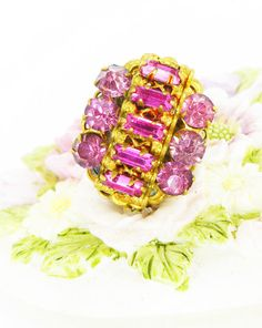 """Glamorous rich pink baguette crystal, antique gold prong setting. Mag TAK™ """"Chick Magnet"""" magnetic brooch. Lapel pin with silk back button by ModernRenaissanceMan on Etsy https://www.etsy.com/listing/236521753/glamorous-rich-pink-baguette-crystal"""