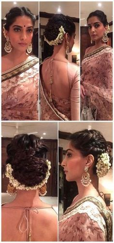 Sonam Kapoor's hairstyle is on fleek for a wedding. Love the braided updo comple. Sonam Kapoor's hairstyle is on fleek for a wedding. Love the braided updo complete with gajra. Makeup is on point too. Sonam Kapoor Hairstyles, Saree Hairstyles, Indian Wedding Hairstyles, Bride Hairstyles, Trendy Hairstyles, Indian Hairstyles For Saree, Bollywood Hairstyles, South Indian Bride Hairstyle, Bridesmaids Hairstyles