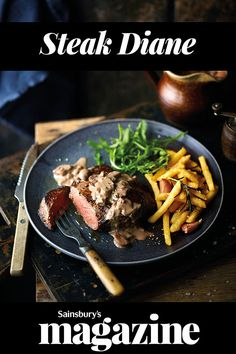 Go retro with a lusciously creamy Diane sauce for your steak and chips. A gluten-free main guaranteed to impress Creamy Mushroom Sauce, Creamy Mushrooms, Steak Diane Recipe, Steak And Chips, Slow Roast Lamb, Hearty Beef Stew, Beef Ribs, Valentines Food
