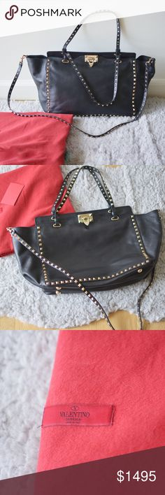 Own-Black Valentino rockstud gold hardware tote Wore less than 3-4 times. Beautiful leather and hardware. One of the most popular Valentino bags. Please see photos for the flaws. No major flaws. All the small flaws are caused by storage. I don't wear most of my bags since I am always wearing few of them, so it's really a good deal buying bags from me. Retailed at 3175+tax Valentino Garavani Bags