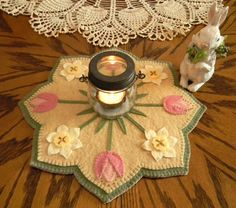 NEW Spring Blossoms Candle Mat Kit Penny Rug Kit by oneoftheflock Penny Rug Patterns, Wool Applique Patterns, Craft Patterns, Felt Embroidery, Felt Applique, Wool Quilts, Penny Rugs, Etsy Crafts, Felt Ornaments